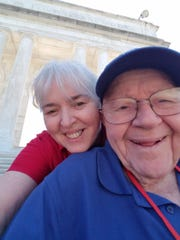 Lee Trumbo, right, and his daughter, Bobbie Byrd enjoy the Lincoln Memorial in Washington, D.C., on June 15.