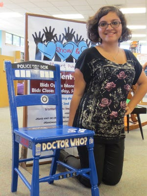 Ariana Strupp hand painted this chair for the Campbellsport Public Library's silent auction fundraiser. The Library's fundraiser runs until September 19th. Stop by the Library to look at the over 55 creative submissions.