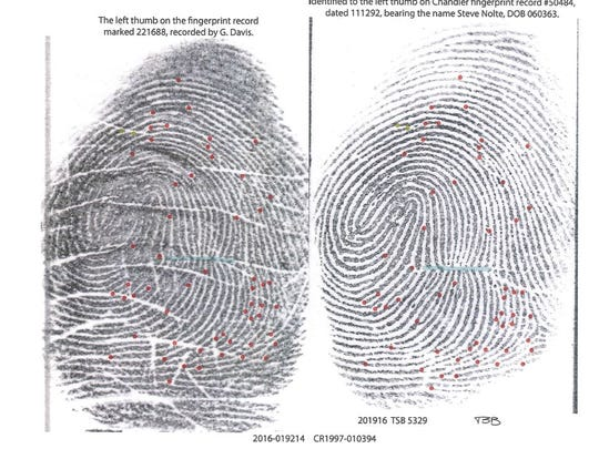 Steven Nolte applied for a job at the Gilbert Police Department in 1992, so his fingerprints were on file.