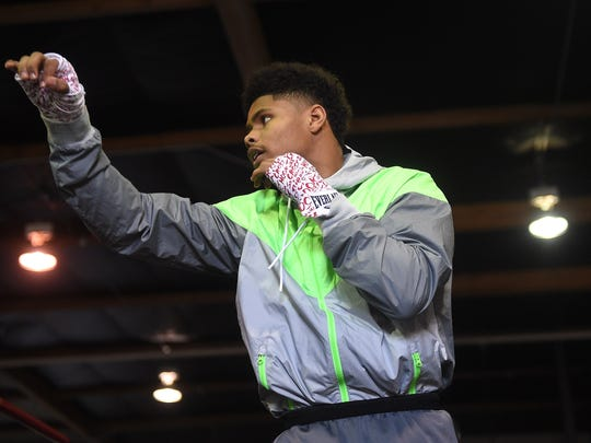 Featherweight Shakur Stevenson trains at the Elite