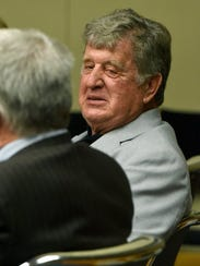 Donald Wiser talks to his attorney, Robert Jolley, during a break Thursday, July 7, 2016 before Special Judge O. Duane Slone in a Knox County courtroom. Wiser, a former Knoxville Police Department investigator, was accused of fabricating evidence and falsifying documents at his former driving school.