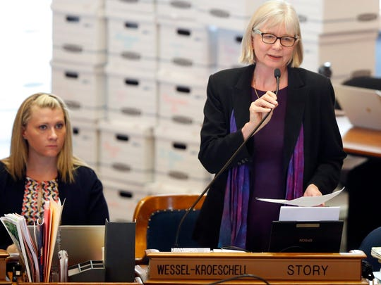 Representative Beth Wessel-Kroeschell speaks on the floor of the Iowa House Tuesday, May 1, 2018.