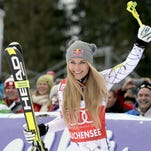 Lindsey Vonn celebrates after the women's Super-G competition of the FIS Alpine Skiing World Cup in Zauchensee, Austria, on Jan. 10, 2016.