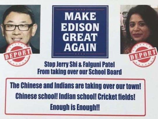 A racist campaign flyer directed at two Edison Board