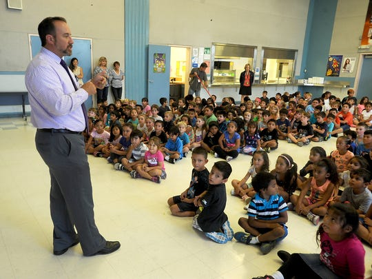 Flory Academy Principal Scott Mastroianni introduces the Story Pirates during an assembly at the school recently.