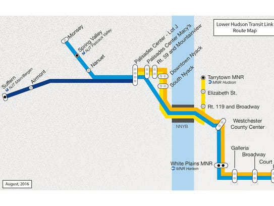 A map of the Lower Hudson Transit Link bus rapid transit