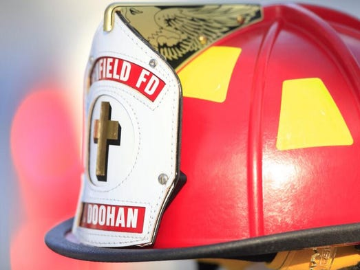 A helmet made for Tyler Doohan was given to his family at his funeral on Jan. 29, 2014.