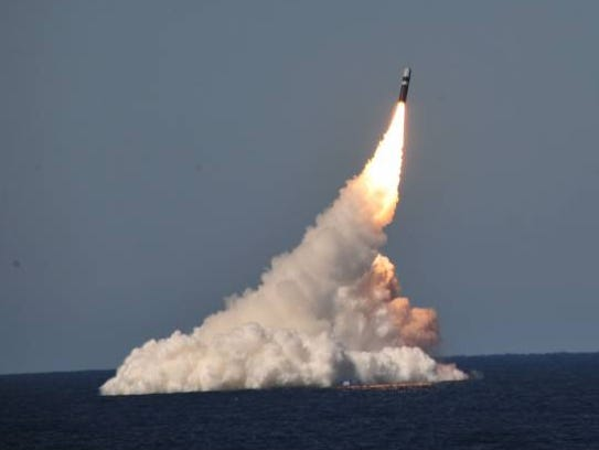 A United States test launch of A Trident II D5 Missile,