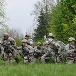 Paratroopers assigned to Company C, 2nd Battalion, 503rd Infantry Regiment, 173rd Infantry Brigade Combat Team (Airborne), conduct infantry training near Osoppo, Italy, April 8, 2014, as they prepare for an upcoming exercise in Slovenia.