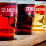 The beer flights at Genesee Brew House give you four glasses of your choice of 10-plus brews on tap. These are the Scotch, Black IPA, 12 Horse Ale and Genesee Light. Review: http://on.rocne.ws/1eJ9n33