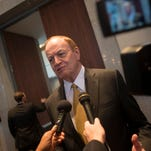 U.S. Sen. Richard Shelby speaks to reporters after addressing the Montgomery Area Chamber of Commerce on Wednesday, Jan. 6, 2015, in Montgomery, Ala.