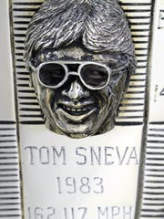 Tom Sneva is shown on the Borg-Warner Trophy wearing