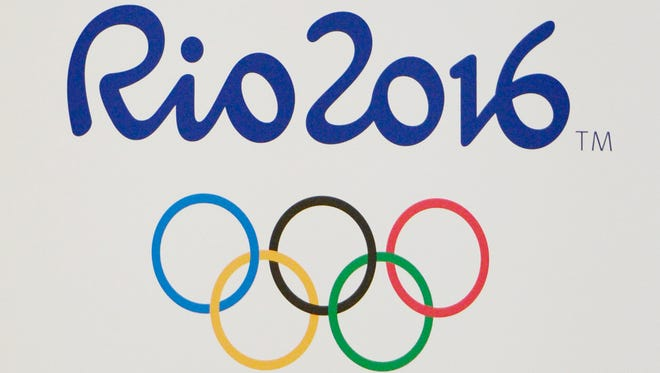 A view of the 2016 Rio and Olympic rings logo .
