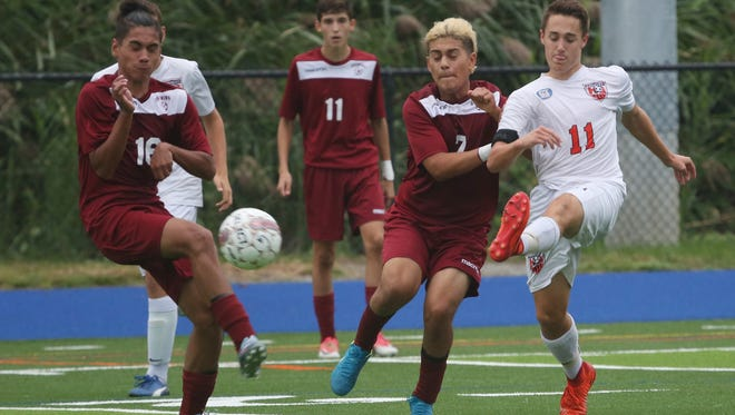 Greeley defeated Ossining 3-2 in boys soccer action at Horace Greeley High School in Chappaqua Sept. 13, 2017.
