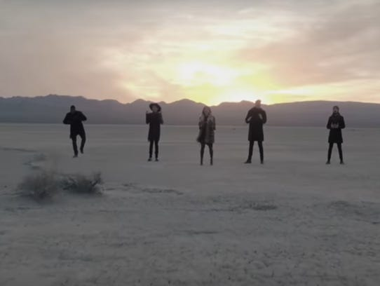 Filming the video for Hallelujah in the Mojave Desert.