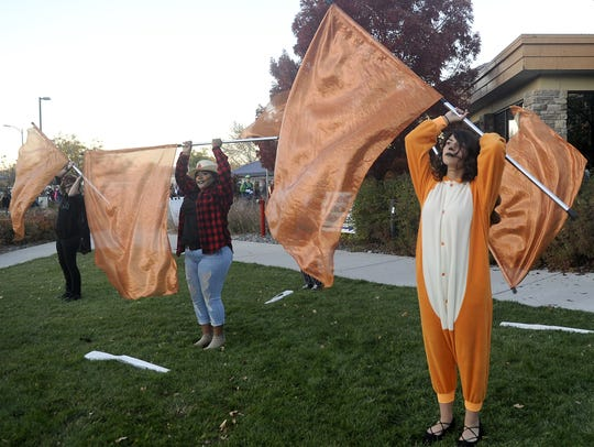 Members of the Fernley High School Color Guard perform