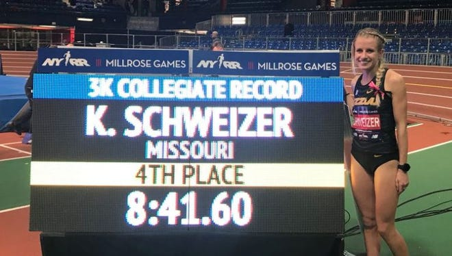 Karissa Schweizer, after setting an NCAA record in the 3,000 at the Millrose Games in New York.