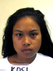 Guam Police Department said Daylin Kosi, was arrested after allegedly throwing a knife and stabbing her boyfriend. Her name was spelled Datlin Kosi in Department of Corrections records.