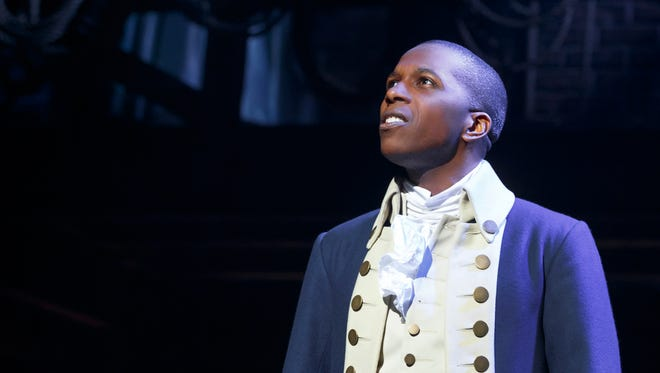 "Leslie Odom Jr. is seen in a scene from ""Hamilton"" at the Richard Rodgers Theatre."