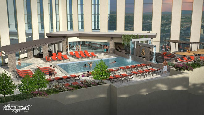 A long-shot rendering of the pool area (called the natatorium) at the Spa at Silver Legacy set to debut in fall 2018 at the Silver Legacy Resort Casino in downtown Reno.