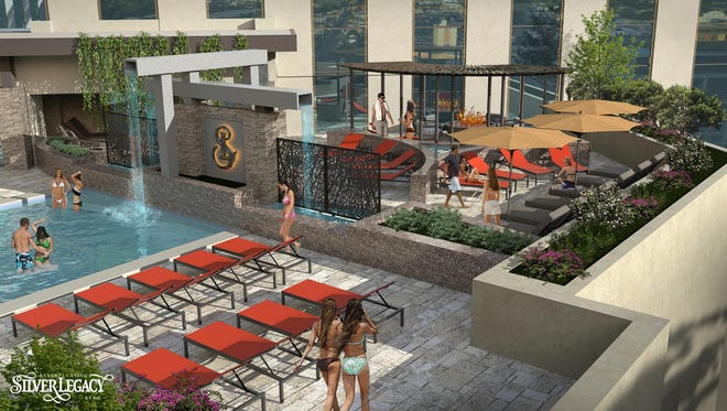A rendering of the 8,000-square-foot pool area at the Spa at Silver Legacy that's debuting Oct. 2, 2018, at the casino in downtown Reno.