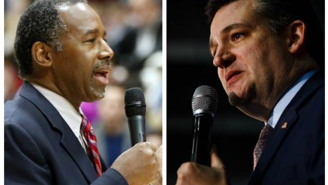 Ben Carson (left) and Ted Cruz on caucus night in Iowa.