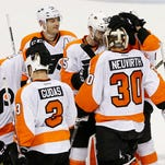 Michal Neuvirth made 27 saves in the Flyers' 4-3 overtime win over the Washington Capitals.
