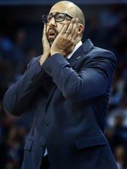 Memphis Grizzlies head coach David Fizdale reacts to