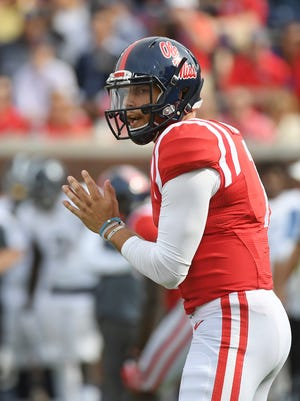 Jason Pellerin relieved Chad Kelly at quarterback in Ole Miss' 37-27 victory over Georgia Southern on Saturday.