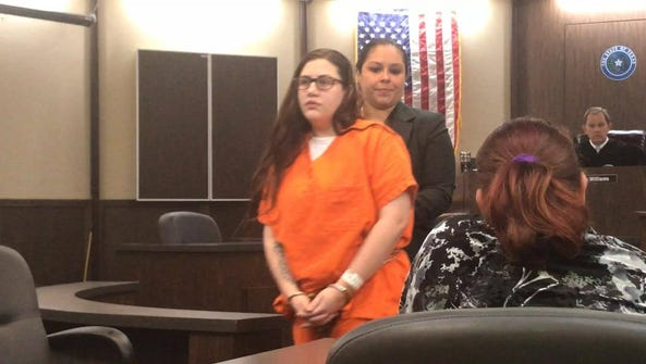 Christina Trevino, followed by her lawyer Deeann Torres,