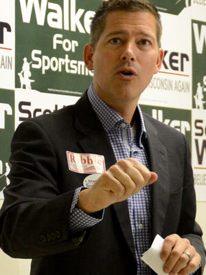 Rep. Sean Duffy speaks during an early-vote rally at the Republican Party of Wisconsin's Green Bay office.