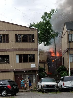 Knoxville firefighters were battling a blaze at an apartment complex in South Knoxville on Monday, June 25, 2018.