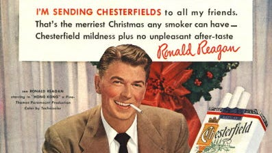 Future President Ronald Reagan appeared in this 1949 ad for Chesterfield cigarettes.