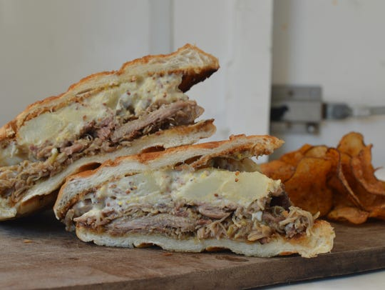 The gumbo and potato salad sandwich is currently available