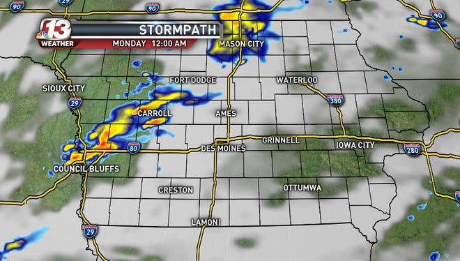 The northwestern pocket of Iowa counties is under a severe thunderstorm watch until about 10 p.m. Sunday.