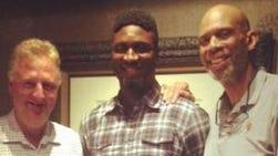 Larry Bird (from left), Roy Hibbert and Kareem Abdul-Jabbar.