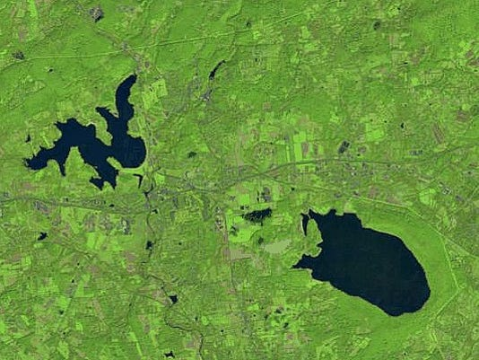 Satellite images show drought's effect on N J  reservoirs