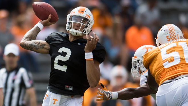 Tennessee quarterback Jarrett Guarantano (2) throws a pass during the Orange & White spring game in April.