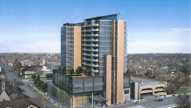 The latest rendering of the proposed 15-story Chauncey at the corner of College and Gilbert Streets in Iowa City.