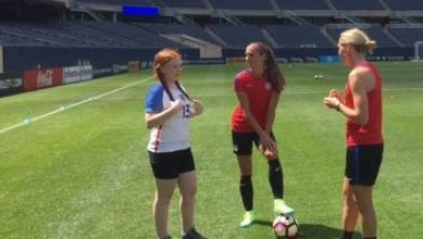 Davison's Mackenzie Toman, left, recently trained with U.S. women national team's members Alex Morgan, center, and Allie Long at Soldier Field in Chicago.