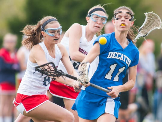 Stephen Decatur defenseman Ally Beck (11) takes a shot against Worcester Prep at Worcester Prep in Berlin on Monday evening.