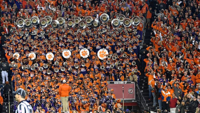 The Clemson Band plays during the third quarter in Williams-Brice Stadium in Columbia on Saturday.