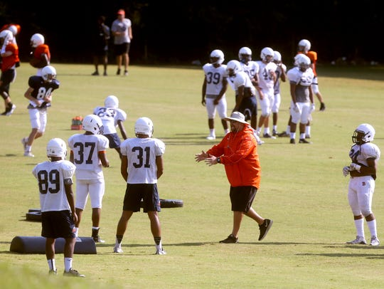 Blackman practices on the first day of full pads Monday.