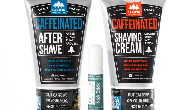 Pacific Shaving Co. caffeinated after shave and shaving cream with nick stick. June 29, 2016