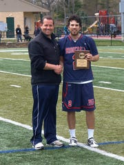 Brookdale sophomore Andrew Dooley (right) earned MVP honors of the Region XIX lax tourney.