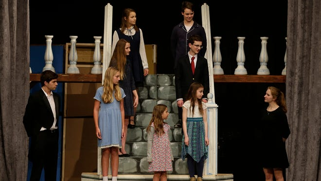 "St. Mary's Springs Academy students Sam Skiff, Braelyn Lewis, Emma Holzmann, Maya Fidziukiewicz, Kendall Lewis, Nicholas Ullenberg, Joseph Zimmer, Natalie Feudner and Sophia Guerin  rehearse for their musical ""The Sound of Music"" Tuesday, April 3, 2018, at the North Fond du Lac High School PAC."