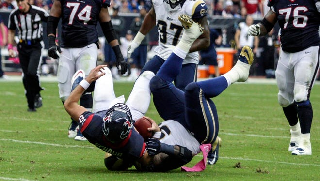 Texans QB Matt Schaub didn't throw an INT Sunday but also didn't last vs. the Rams.