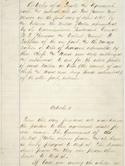 This is an image of the first page of the treaty between the United States Government and the Navajo Indians signed at Fort Sumner, New Mexico Territory, on June 1, 1868.