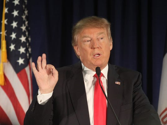 Presidential candidate Donald Trump makes a point during a stump ...