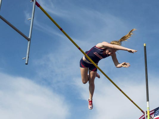 Lebnaon's Erin Winters successfully defended her Lancaster-Lebanon League pole vault title on Friday, clearing 12 feet, six inches in the process.